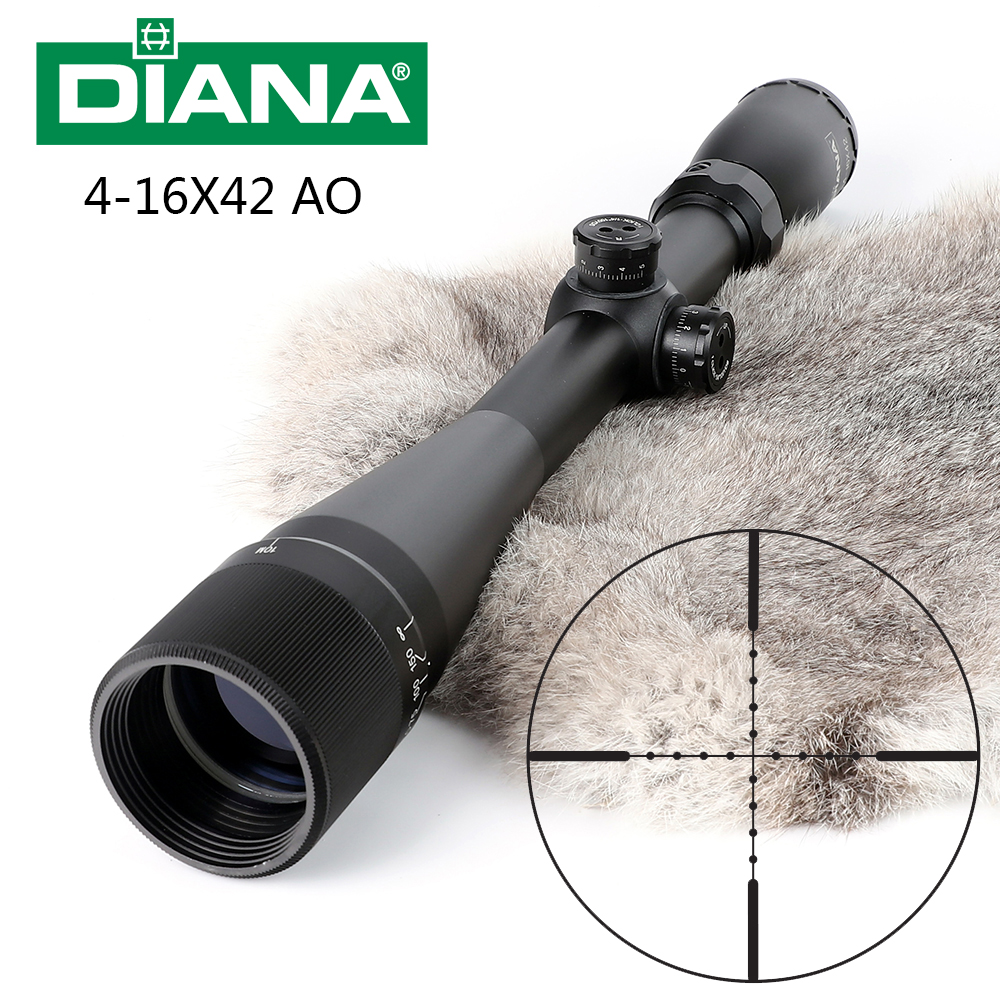 Tactical DIANA 4-16X42 AO Riflescope Mil Dot Reticle Optical Sight Hunting Rifle Scope zos 3 12x40 ao mil dot reticle riflescope classic tactical weapon optical sight for hunting rifle scope with lens cover