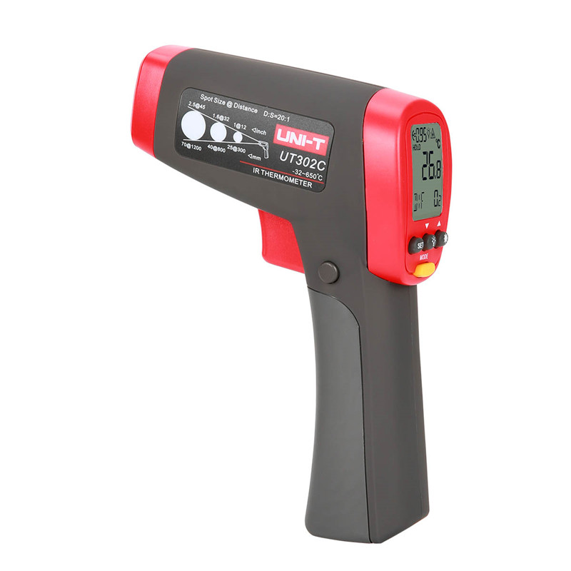 Professional pyrometer infrared UNI-T UT302C non-contact infrared thermometer -32~650 Degrees Temperature Tester Pyrometer new uni t ut302b 32 550 c 20 1 infrared thermometer