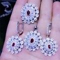CP90 Lujo Diseñador de Moda Plata de Ley 925 Joyas de Plata/Oro/Oro Rosa Plateado Zirconia Pendiente/Collar/Juego de anillos