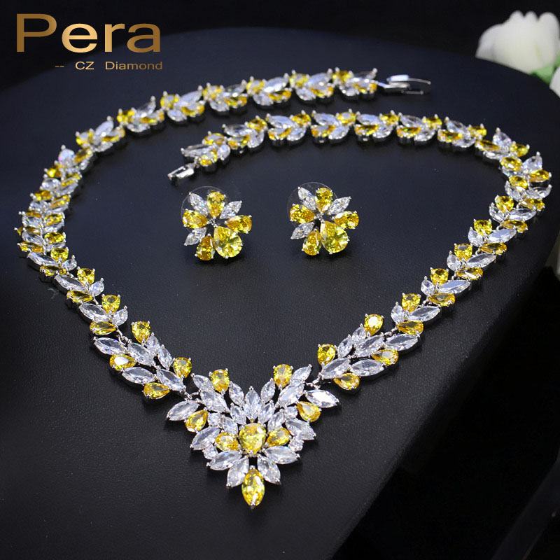 Pera CZ Luxury Women Wedding Yellow And White Stone Jewelry Accessories For Brides Big Leaf Shape Necklace And Earrings Set J167 a suit of retro fake gem rhinestone leaf tassel necklace and earrings for women