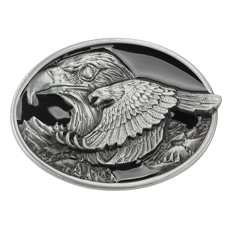 Simple Point Paint Eagle Belt Buckle Oval Leather Lead Its Wings