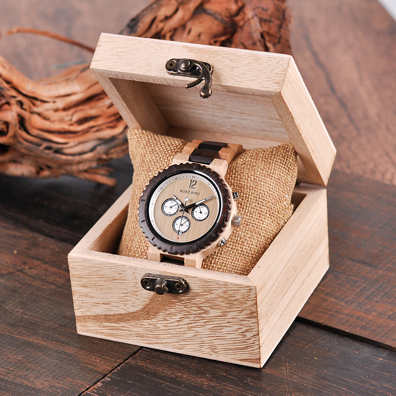 Image 5 - BOBO BIRD Wooden Watch Men Relogio Masculino Luxury Stylish Timepieces Chronograph Military Quartz Watches Great Gift for Men-in Quartz Watches from Watches