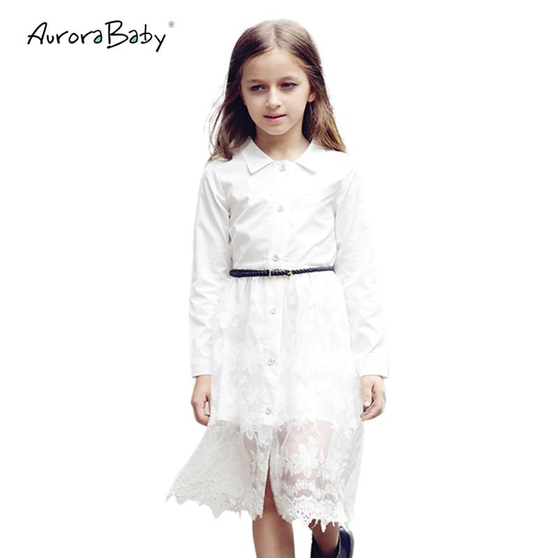 AuroraBaby ليتل كبير الفتيات اللباس الصلبة فساتين الدانتيل الأبيض لمدة 3-18Y الفتيات ملابس الاطفال القطن البوهيمي منتصف العجل شاطئ كامل