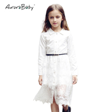 Little Big Girls White Lace Midi Blouse Shirt Dress Long Sleeve Button Solid Free Belt 2019 Summer 6-14Y Teenager Kids Clothes