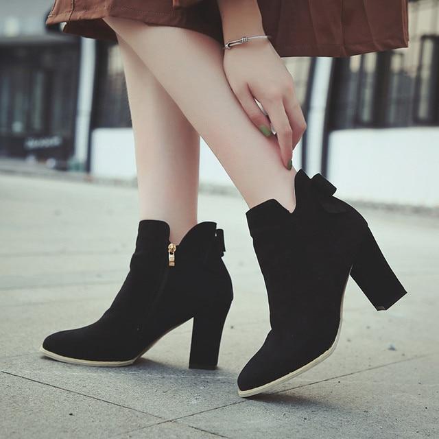 YOUYEDIAN Kadın Flcok Sivri Burun Yay Çizmeler yarım çizmeler Yüksek Topuklu Fermuar Martin yüksek topuklu ayakkabı Fermuar Martin Ayakkabı # a35