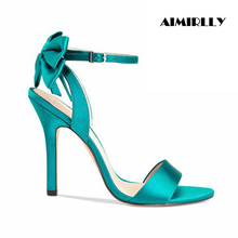 Aimirlly Women Ladies Shoes Open Toe High Heel Sandals Back Bow Tie Wedding Party Dress Shoes Green Pink Satin vertical striped bow tie open back cami dress