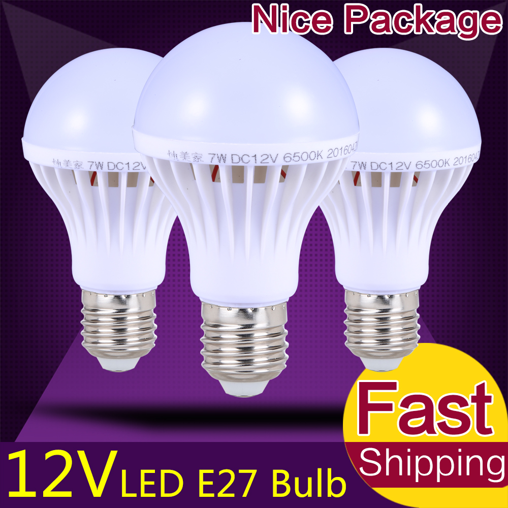 Energy Saving E27 LED Bulb Lights DC 12Volt 85Volt LED Lamp 3W 5W 9W 12W  15W Lamparas LED Light Bulbs 12 Volt For Outdoor