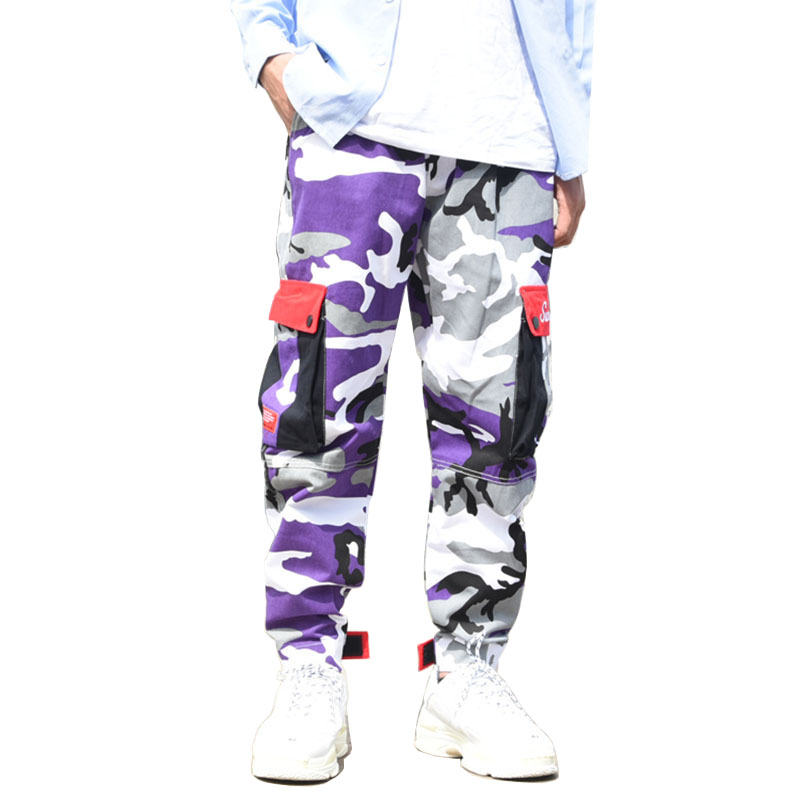 Mens Trousers Cargo-Pants Skateboard Swag Streetwear Joggers Purple Fashion Military-Style