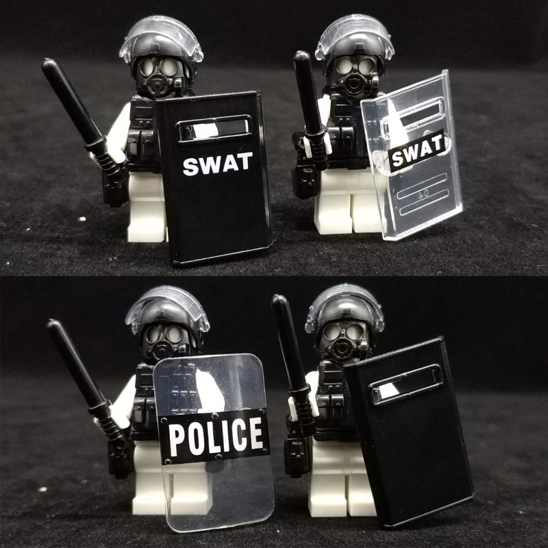Police Weapon Bricks SWAT Shield Military Soldiers Helmet Building Blocks Gas Mask Accessories Brick LegoINGlys Toy For Children police pl 12743ls 02m