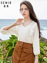 SEMIR Long Sleeve Blouse Women 2019 Autumn New V-neck Doll Shirt Fresh and Sweet Tops cotton casual Ruffles shirt(China)