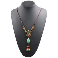 Женское этническое ожерелье большое длинное богемное в стиле