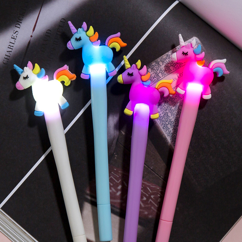 1 Pcs Creative Cartoon Jump Unicorn Light Pen Cute Glowing Pony Gel Pen Student Stationery 0.38mm Writing Tool School Supplies
