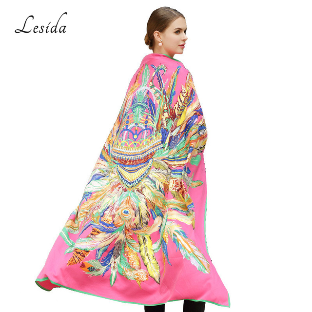 LESIDA 100% Silk Scarf Women Large Shawls Feather Print Stoles Square Bandana Luxury Brand Kerchief Scarf Female Foulard 1306 10