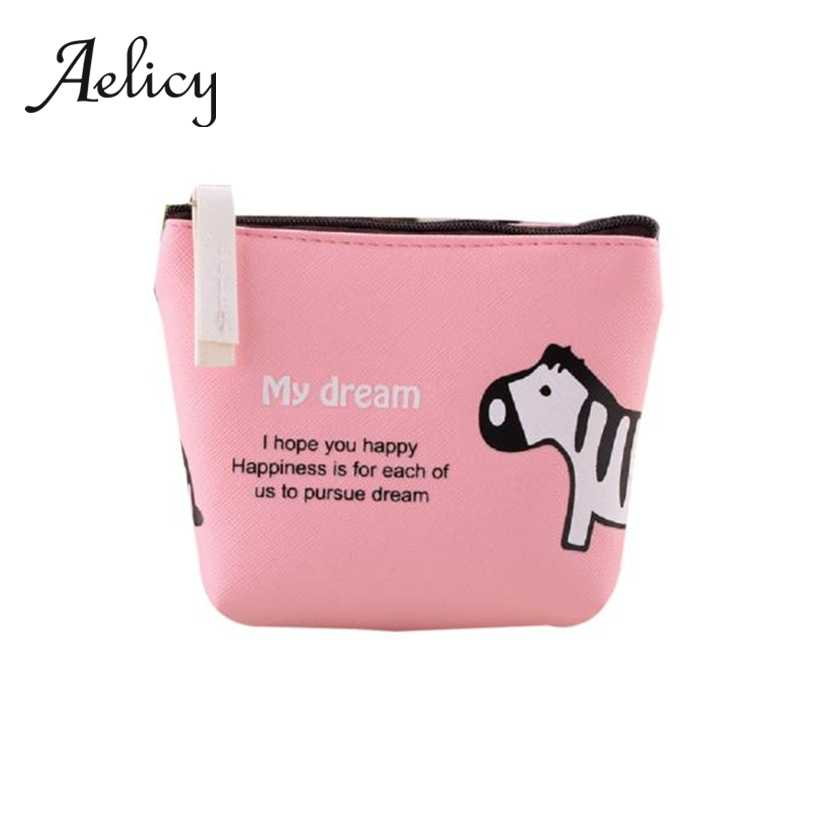 Aelicy Women Girls Cute Cartoon Animal Coin Purse Leather Mini Zipper Change Pouch Clutch Wallet Key Holder Storage Bag