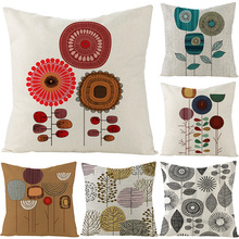 цены Nordic Decorative Flowers leaves Geometric Cushion Cover Sofa Bedroom Beige Cotton Linen Throw Pillow case  Printed pillow cover