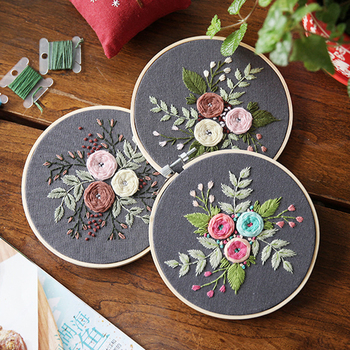 DIY Ribbons Embroidery for Beginner Needlework Practice Kits Cross Stitch Modern Wall Painting Art Home Decoration Meet Sets embroidery