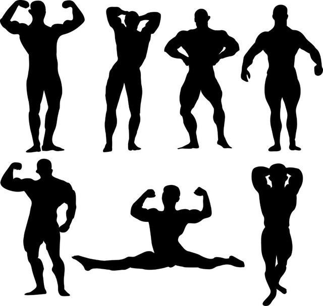 Muscle Men Silhouette Vinyl Wall Decal Big Muscles Gym