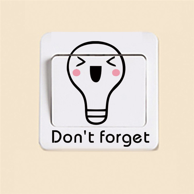Cute Smiling Light Bulb Switch Stickers Outlets Decor Dont Forget