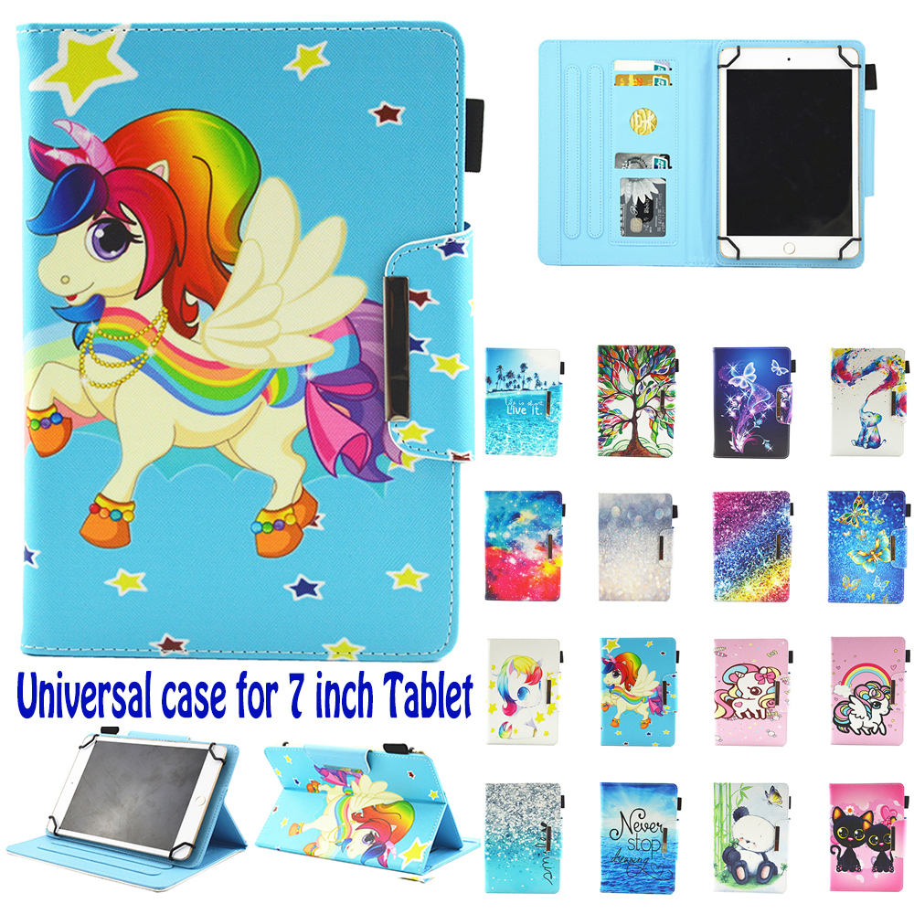 "Universal Case for 7"" Tablet case Folio Cover Protective Stand for Touchscreen Tablet ASUS Acer Lenovo Visual Land NuVision RCA"