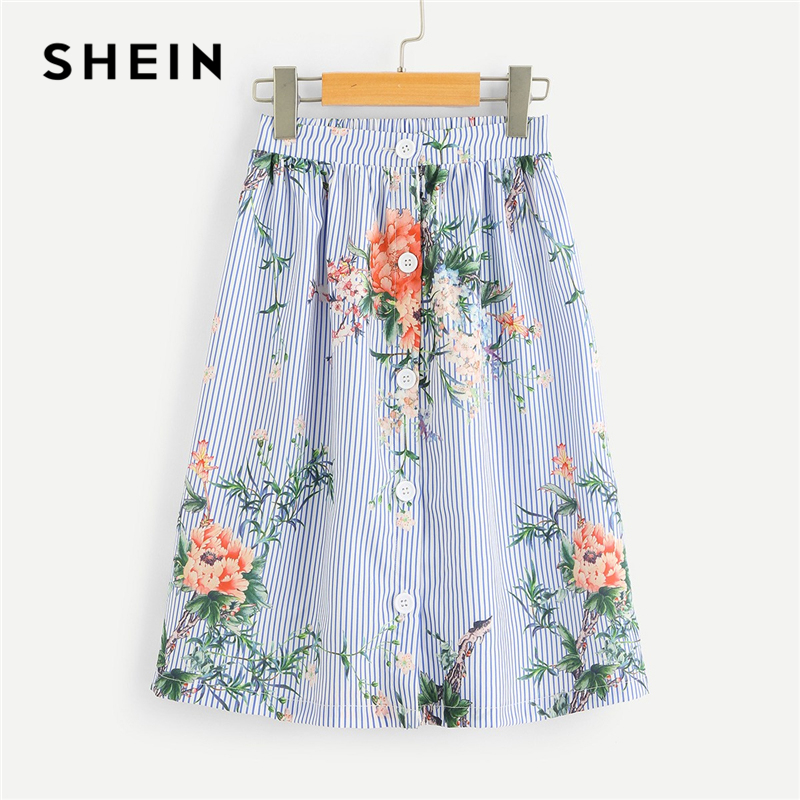 SHEIN Kiddie Blue Striped and Floral Print Button Beach Short Girl Skirt 2019 Summer Boho A Line Vacation Children Girls Skirts boho print dip hem chiffon top