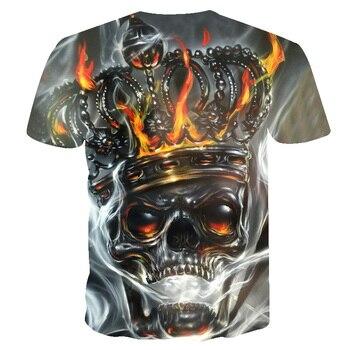 20189 Hot sale New Mens Summer Skull crown Poker Printing Men Short Sleeve T-shirt 3D T Shirt Casual Tshirt Plus Size T-shirt 1