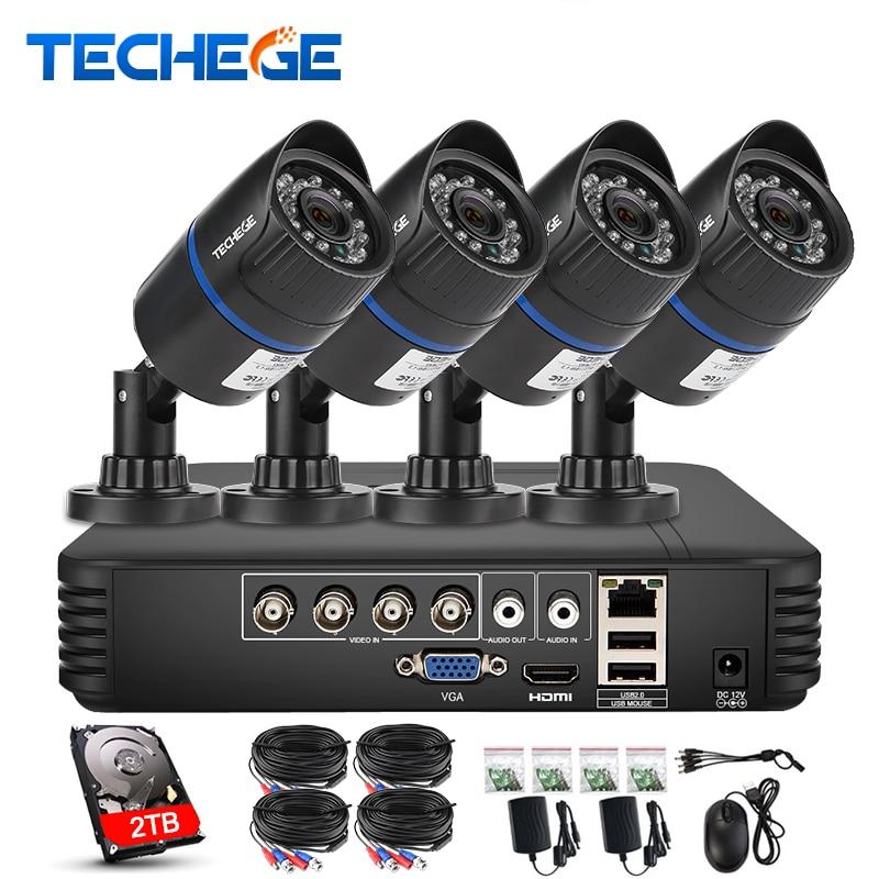 Techege 4CH CCTV System 720P HDMI AHD CCTV DVR 1 0 MP IR Waterproof Outdoor Security