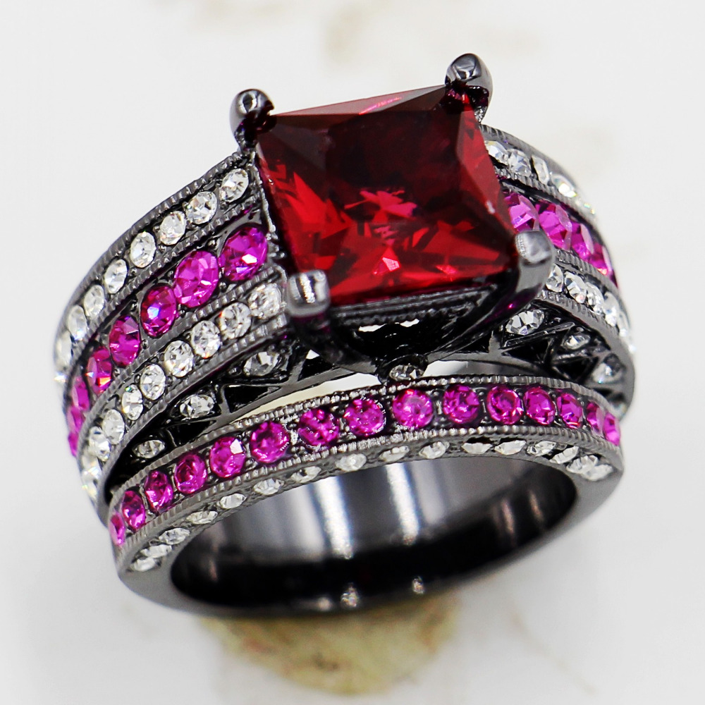 victoria wieck antique jewelry lovers garnet crystal 10kt black gold filled 2 in 1