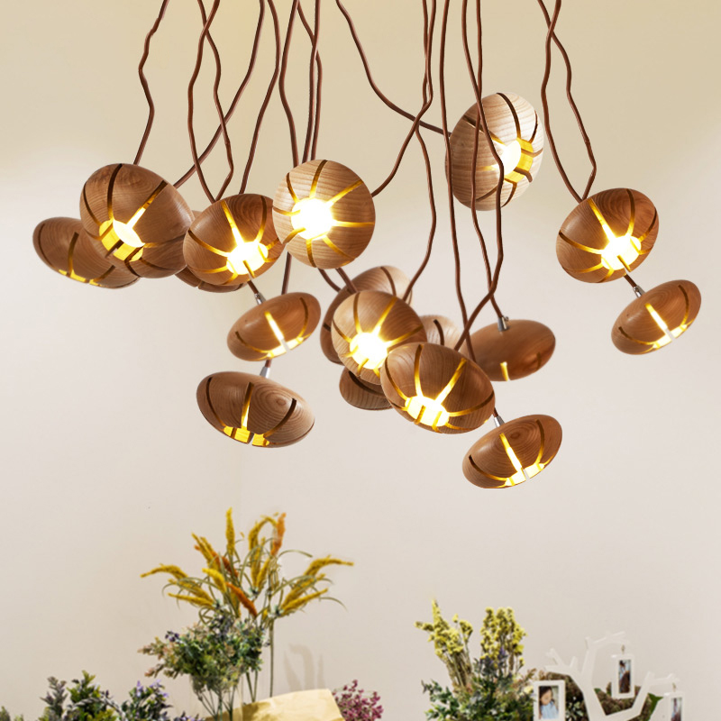Северные деревянные краткие подвесные светильники с Металлическим Шлангом DIY моделирования. тыква в форме чердак led подвеска лампа Кафе Бар