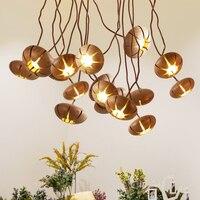 Nordic wooden brief pendant lights with Metal Hose DIY modeling. pumpkin shaped loft led suspension lamp Cafe Bar home lighting
