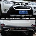 Подходит для Toyota RAV4 RAV-4 2013-2015 Передний + задний бампер диффузор бамперы защита для губ защита противоскользящая пластина ABS хромированная от...