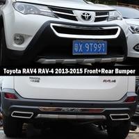 Apto Para Toyota RAV4 RAV 4 2013 2015 Front + Rear Bumper Difusor para Choques Lip Guard Protector skid placa ABS acabamento cromado 2PES|Amortecedores|Automóveis e motos -