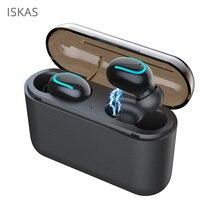 ISKAS Earphone Bluetooth Handsfree Ear Buds Buttons Music Wireless 5.0 Phone Cell Phones Bass Technology New