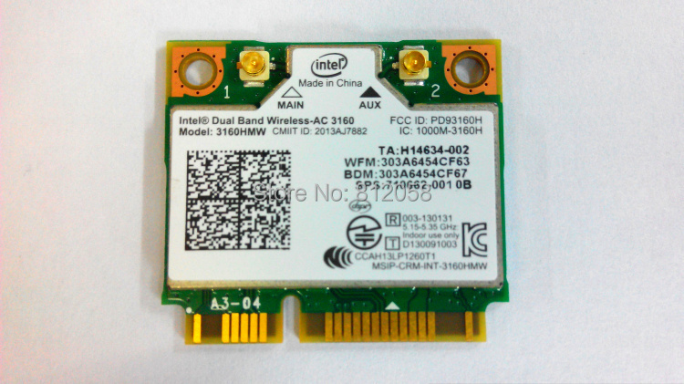NEW Intel Dual Band Wireless AC 3160 3160HMW Mini PCI E 802 11ac 433Mbps  Dual Band 2 4G/5G Wifi Bluetooth 4 0 Wireless card-in Network Cards from