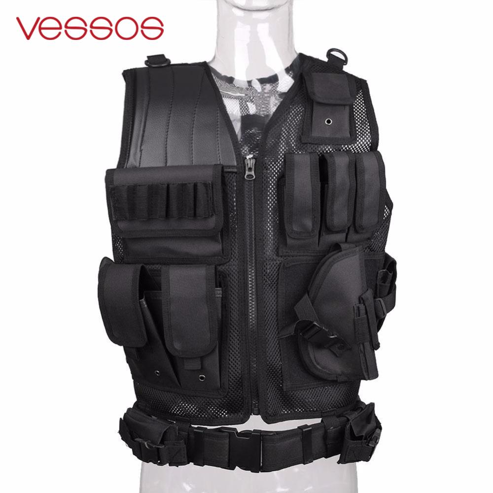 VESSOS Military Tactical Vest Army Hunting Molle Airsoft Vest CS Outdoor Jungle Armor Swat Combat Painball Black Vest for Men