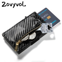 ZOVYVOL  2019 New Arrival RFID Blocking Purses Credit Card Holder Business PU Leather Carbon Fiber Black Wallet Case