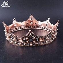 Barok Volledige Ronde Bruiloft Bruid Tiara Kronen Koningin Pageant Prom Hoofddeksel Strass Haaraccessoires