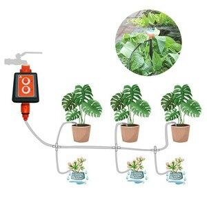 Image 1 - 新ダブルノブ防水インテリジェントタイマー点滴灌漑システムセットマイクロスプレー散水コントローラの庭散水装置