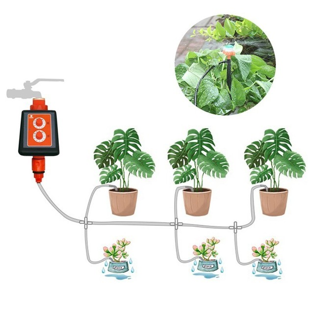New Double Knob Waterproof Intelligent Timer Drip irrigation System set Micro Spray Watering Controller Garden Watering Device