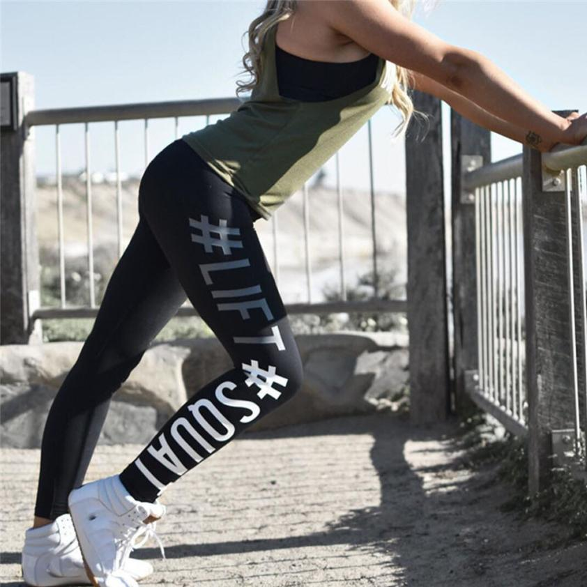 Women Life SQUAT Letter Training Activewear Running Fitness Tights sports trousers leggings flexible track Sportswear Sweatpants