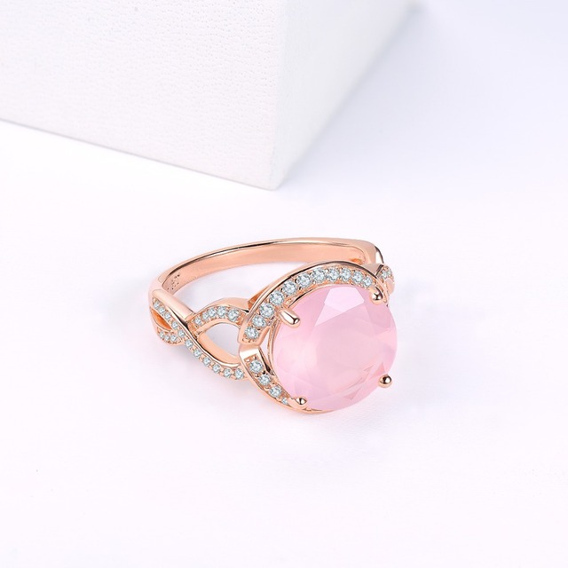 Rose Quartz Engagement Silver Gold Plated Ring 3