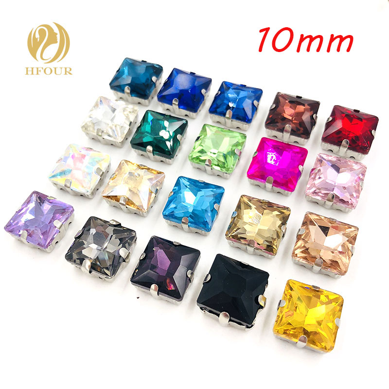 HOT SALE 10mm 20pcs Square shape flatback glass sew on rhinestones With claw DIY Shoes hat garment accessories