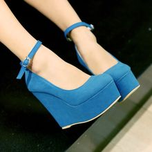 fashion wedges platform  suede upper  women's high heel lady shoes
