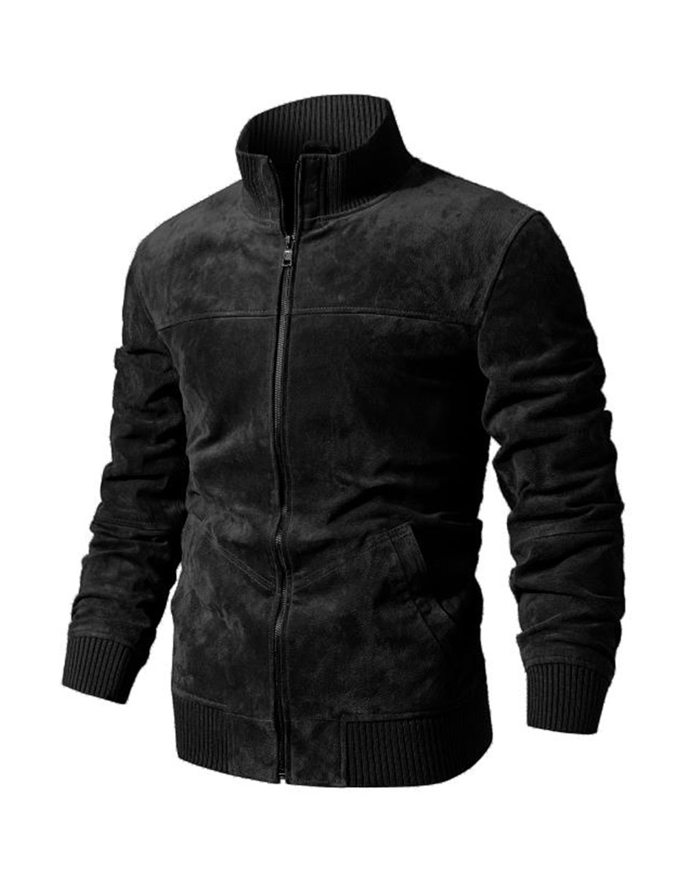 HTB1GHKBlpkoBKNjSZFkq6z4tFXaH FLAVOR Men's Real Leather Jacket Men Pigskin Slim Fit Genuine Leather Coat With Rib Cuff Standing Collar