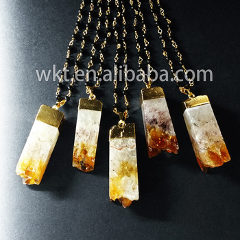 WT-N446 Wholesale natural yellow natural stone necklace with black beads chain unique stone necklace for Woman jewelry