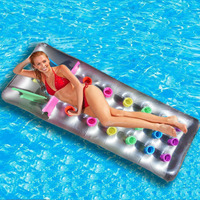 Inflatable Float Chair Floating Bed 18 Holes With Pillow Lounge PVC Foldable Bed Summer Beach Water Pool Toys Raft Air Mattress