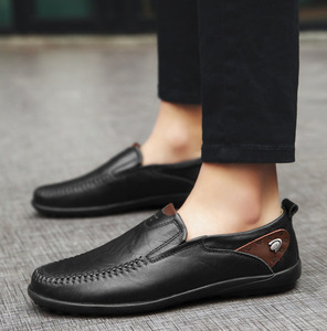 Image 5 - Men Shoes Casual Luxury Brand 2019 Genuine Leather Italian Men Loafers Moccasins Slip on Mens Boat Shoes Black Plus Size 37 47