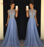 Custom Made A line Lace Beading Backless Chiffon Blue Elegant Evening Dresses Long Formal Evening Gowns Prom Gowns LE12