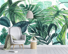 Beibehang Custom Mural Wallpaper Hand Painted Tropical hand painted banana leaf Plant Photo wallpaper painting 3d papier peint