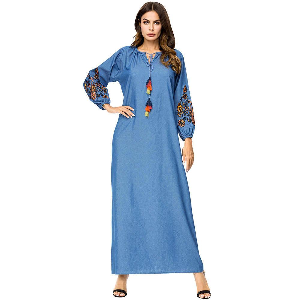 2210ab788f6 Fashion Elegant Women s Muslim Abaya Dress V-Neck Long Sleeve Embroidery  Kaftan Dresses Maxi Dress