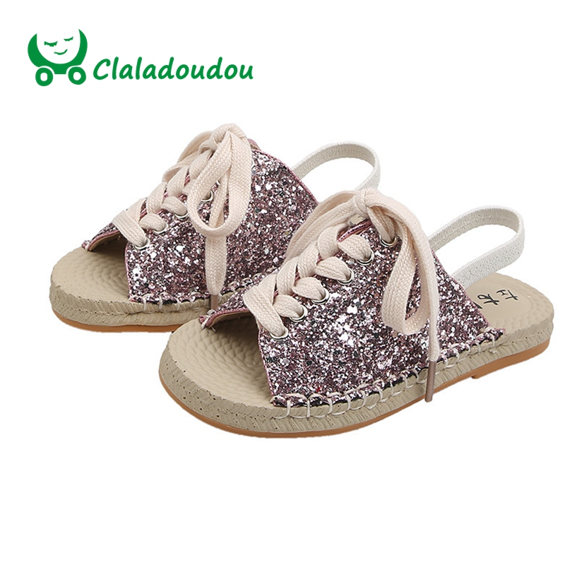 Claladoudou 17 19.5CM Brand Kids Fashion Bling Bling Girls Sandals Lace Up Causal Summer Shoes Toddler Beach Slippers For Baby